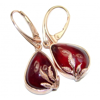 Authentic 40CT genuine Garnet 18k Gold over .925 Sterling Silver handmade earrings