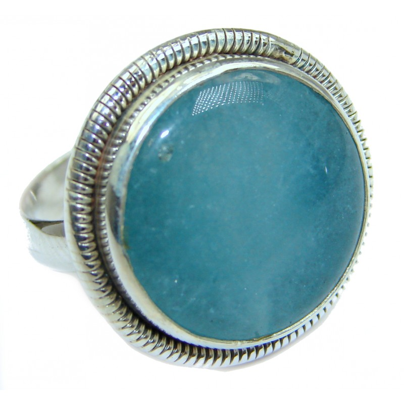 Magic genuine Aquamarine .925 Sterling Silver handmade Cocktail Ring s. 7 1/4