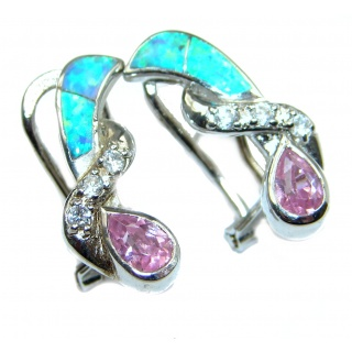 Cubic Zirconia Japanese Opal .925 Sterling Silver earrings