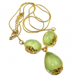 Fine Art Genuine Prehnite 18K Gold over .925 Sterling Silver handmade necklace
