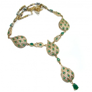 Victorian Style Snakes created Green Emerald & White Topaz .925 Sterling Silver necklace