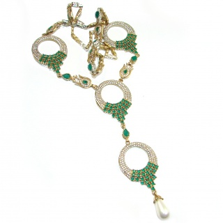 Victorian Style created Green Emerald & White Topaz .925 Sterling Silver necklace