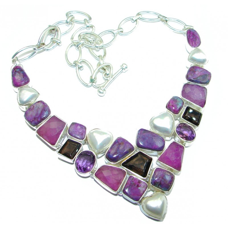 CHic Boho Style Purple Copper Turquoise Sterling Silver handmade necklace