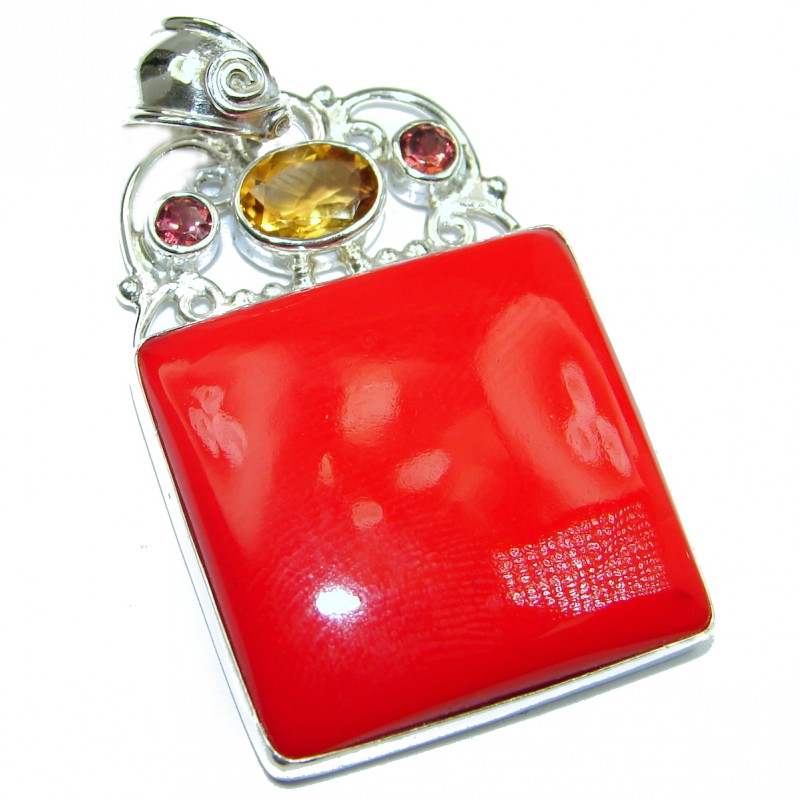 Red Fossilized Coral Garnet .925 Sterling Silver handmade pendant