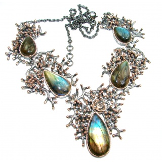 Chunky Cascade of Lights Labradorite Gold over .925 Sterling Silver entirely handcrafted necklace
