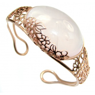 Incredible Genuine Rose Quartz 18K Rose Gold over .925 Sterling Silver Bracelet / Cuff