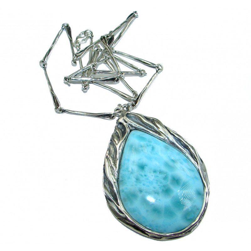 Large One of the kind Nature inspired Sublime Larimar .925 Sterling Silver handmade necklace