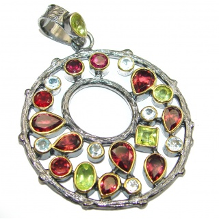 Pure Joy Red Garnet Peridot Topaz Gold over .925 Sterling Silver handcrafted Pendant