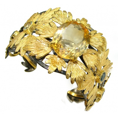 Spectacular Genuine Citrine 14K Gold over .925 Sterling Silver Bracelet / Cuff