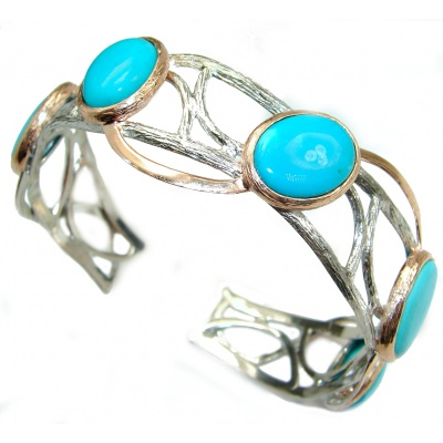 Boho Chic Genuine Sleeping Beauty Turquoise .925 Sterling Silver handmade Bracelet / Cuff