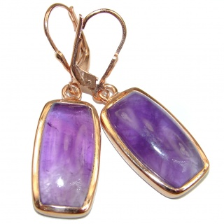 Vintage Design Authentic Amethyst Gold over .925 Sterling Silver handmade earrings