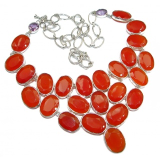 Jumbo Natural Bold Carnelian .925 Sterling Silver handmade Necklace
