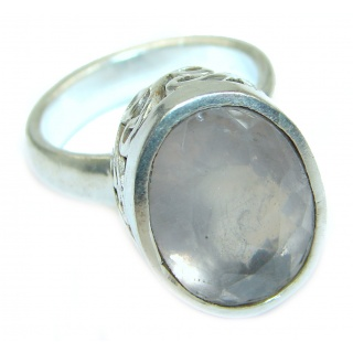 Best Quality Rose Quartz .925 Sterling Silver ring s. 6 1/4