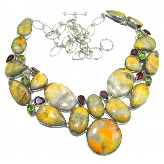 Jumbo Chic Boho Style natural Bumble Bee Jasper .925 Silver handmade Necklace