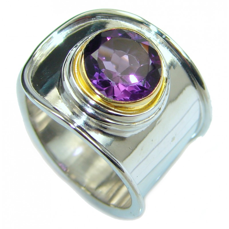 Vintage Style Amethyst .925 Sterling Silver handmade Cocktail Ring s. 7 adjustable