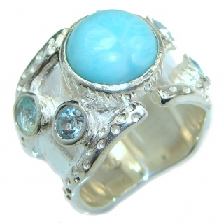 Natural Larimar Swiss Blue Topaz .925 Sterling Silver handcrafted Ring s. 6 3/4