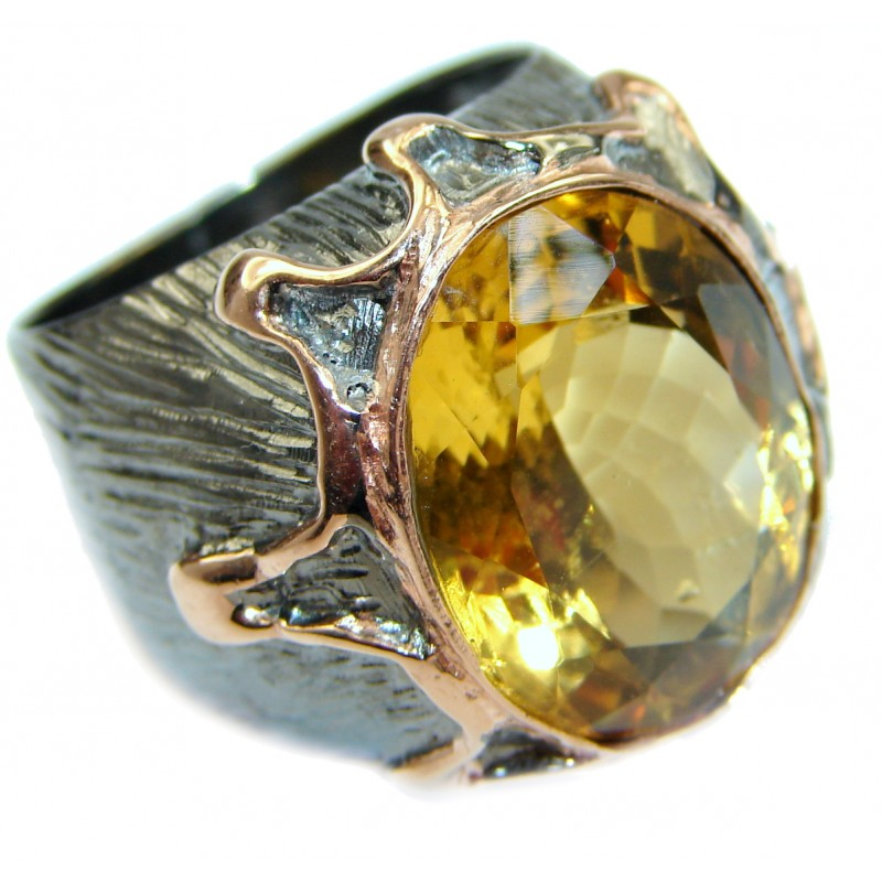 Natural 25 ct. Citrine 14K Gold over .925 Sterling Silver handcrafted Ring s. 8