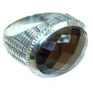 Dramatic Design Smoky Topaz .925 Sterling Silver handmade Cocktail Ring s. 8 3/4