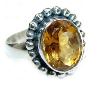 Genuine Citrine .925 Sterling Silver handmade Ring s. 7 adjustable