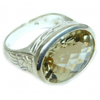 Natural 36.5 ct. Citrine .925 Sterling Silver Ring s. 8