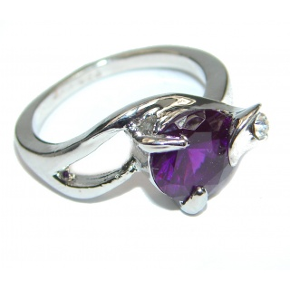 Ultra Fancy Cubic Zirconia .925 Sterling Silver Cocktail ring s. 7