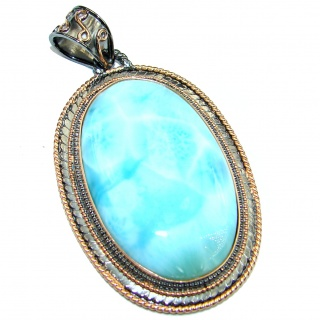 Blue Galaxy genuine Larimar Rose Gold over .925 Sterling Silver handmade pendant