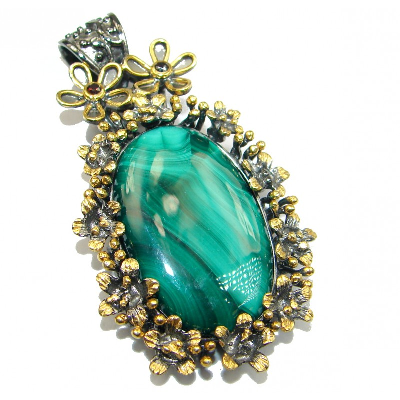Big TOP quality Azurite Malachite .925 Sterling Silver handmade Pendant