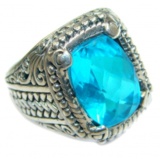 Unique Design genuine Paraiba Tourmaline Quartz .925 Sterling Silver handmade Cocktail Ring s. 8 1/4