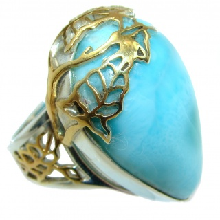 Blue Treasure Larimar two tones .925 Sterling Silver handmade ring s. 7 adjustable