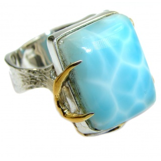 Blue Treasure Larimar two tones .925 Sterling Silver handmade ring s. 8 1/4