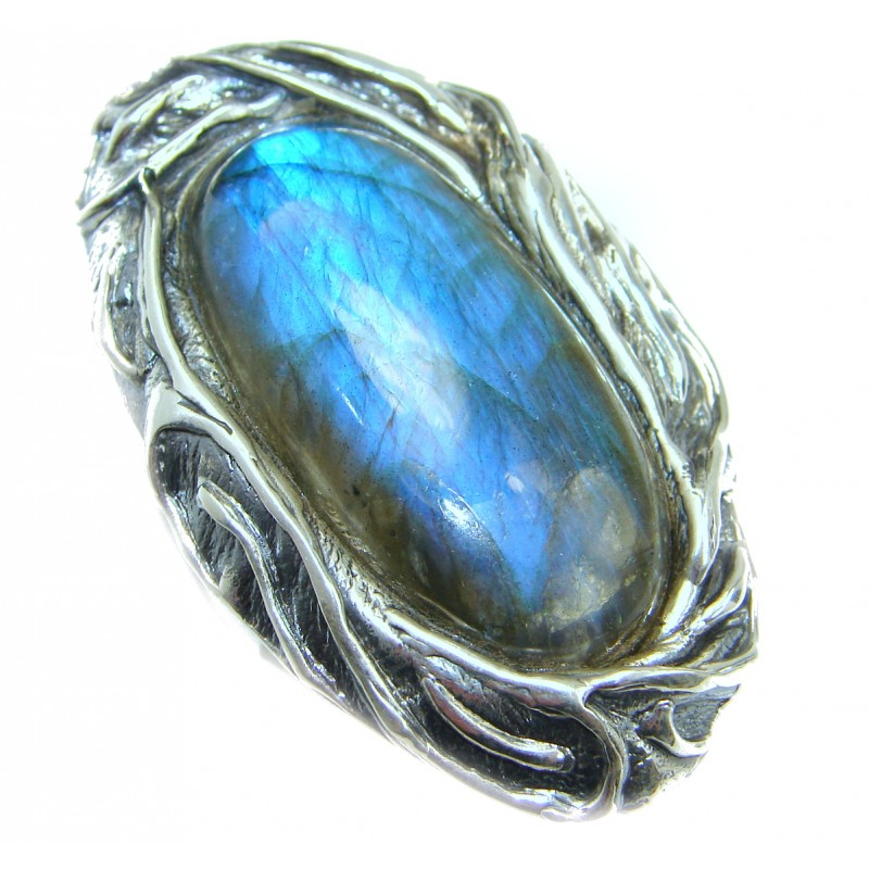 Large Fire Labradorite .925 Sterling Silver handmade ring size 7 adjustable