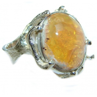 True Power Precious Mexican Opal .925 Sterling Silver handmade ring s. 9