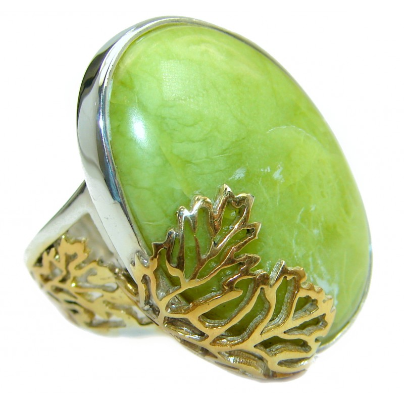 Huge Australian Green Opal .925 Sterling Silver handcrafted ring size 7 adjustable