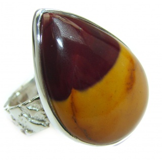 Flawless Australian Mookaite .925 Sterling Silver Ring size 8