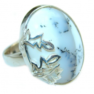 Top Quality Dendritic Agate .925 Sterling Silver hancrafted Ring s. 7 3/4