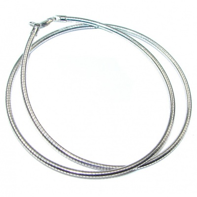 Round Omega Sterling Silver Chain 20'' long, 2 mm wide
