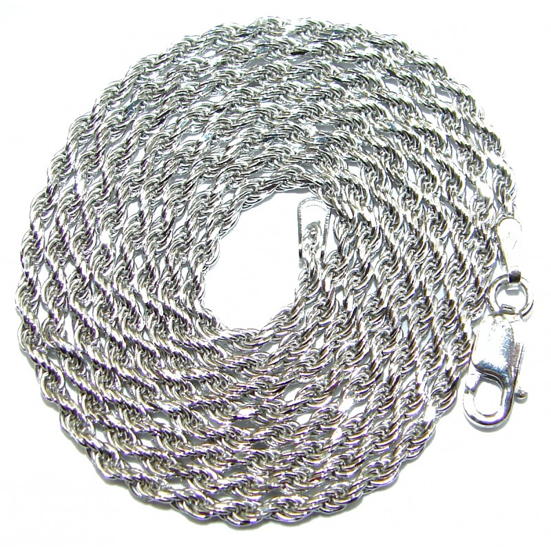 Rope Rhodium over Sterling Silver Chain 26'' long, 3 mm wide