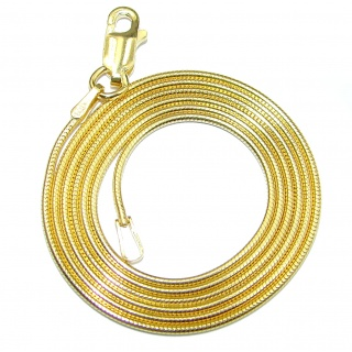 "Snake Gold over Sterling Silver Chain 18"" long, 1 mm wide"