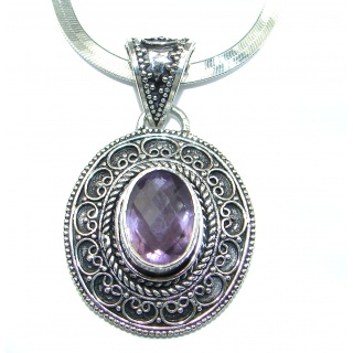 Artisan MasterPiece genuine Amethyst .925 Silver handcrafted Necklace