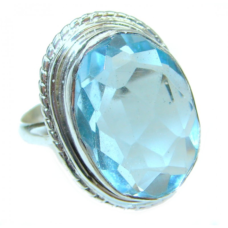 Natural Blue Topaz .925 Sterling Silver handcrafted Ring s. 6 1/2