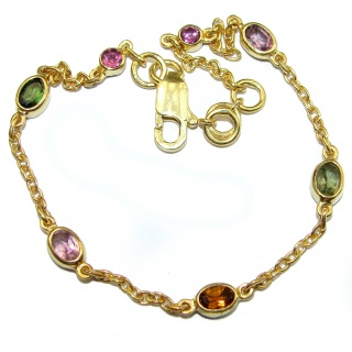 Genuine Tourmaline Rose Gold plated over .925 Sterling Silver handmade Bracelet