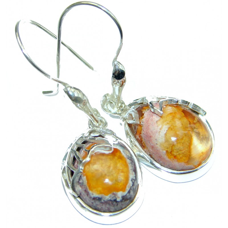 Long Orange Mexican Fire Opal hammered .925 Sterling Silver handcrafted earrings