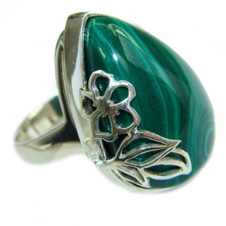 Natural Sublime quality Malachite .925 Sterling Silver handcrafted ring size 7 1/2