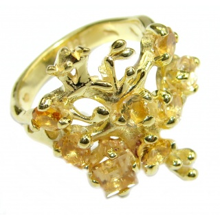 Majestic Authentic Citrine Gold over .925 Sterling Silver handmade Statement Ring s. 7 1/4