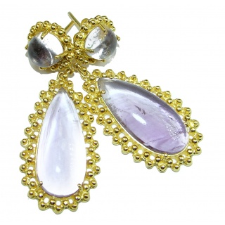 Vintage Design Authentic Amethyst 14K Gold over .925 Sterling Silver handmade earrings