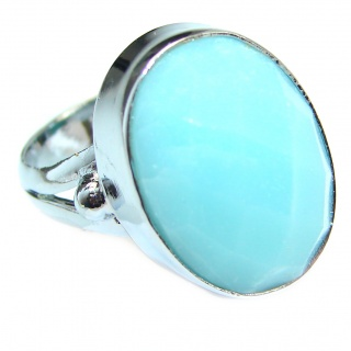 Blue Chalcedony Agate .925 Sterling Silver handcrafted Ring s. 6 1/2