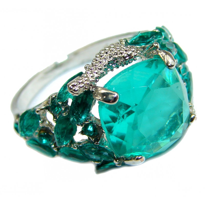 Created Emerald & White Topaz Sterling Silver Ring s. 10
