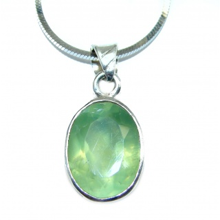 Fine Art Genuine Prehnite .925 Sterling Silver handmade necklace
