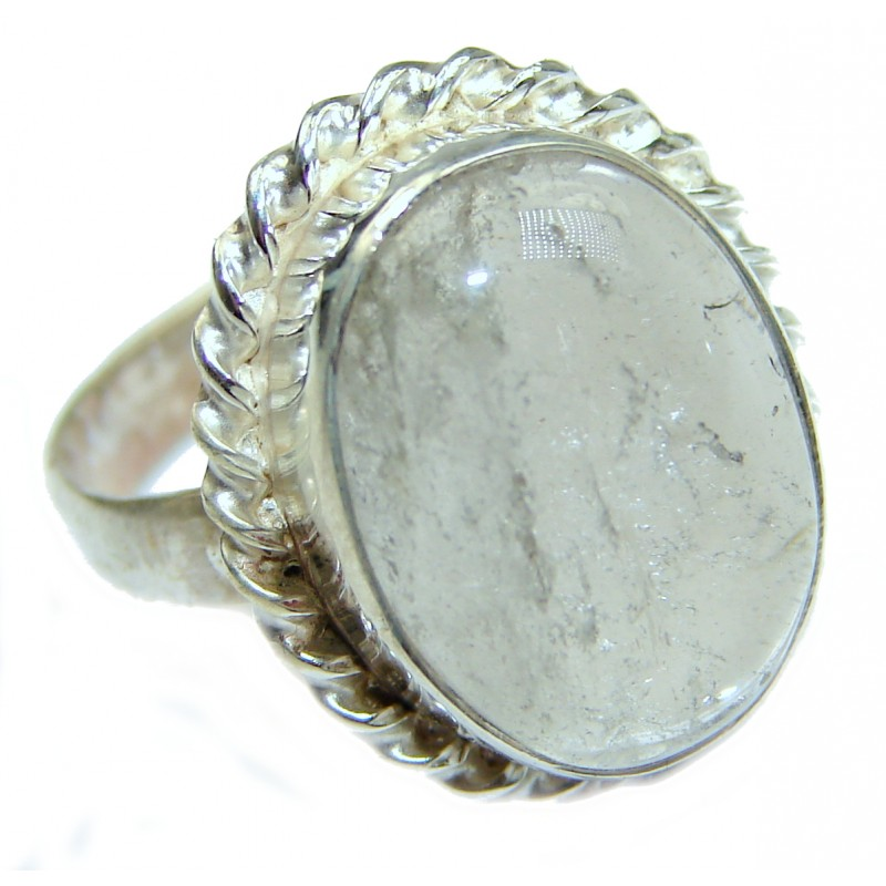White Topaz .925 Sterling Silver handmade Statement Ring s. 6