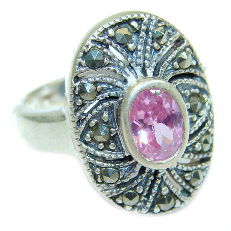 Fantastic Created Pink Kunzite Sterling Silver ring s. 6